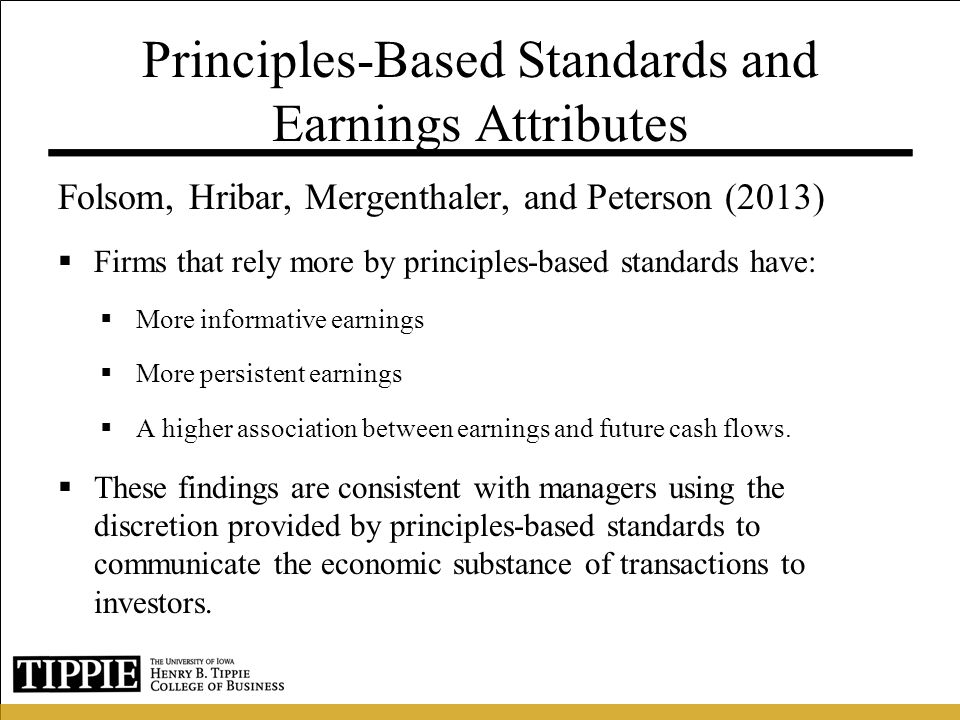 Principles-Based Standards and Earnings Attributes