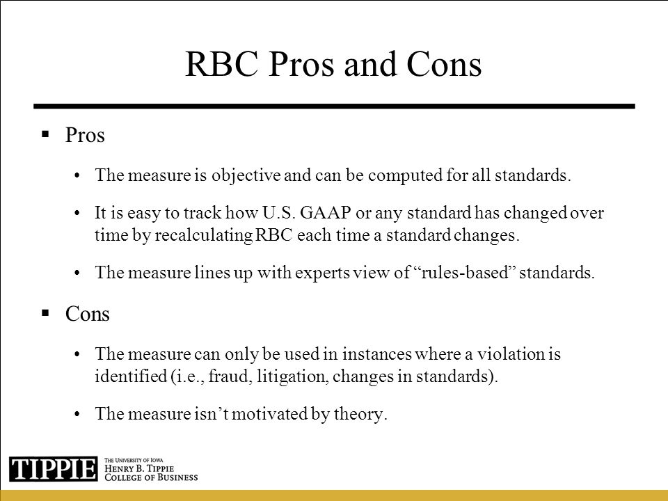 RBC Pros and Cons Pros Cons