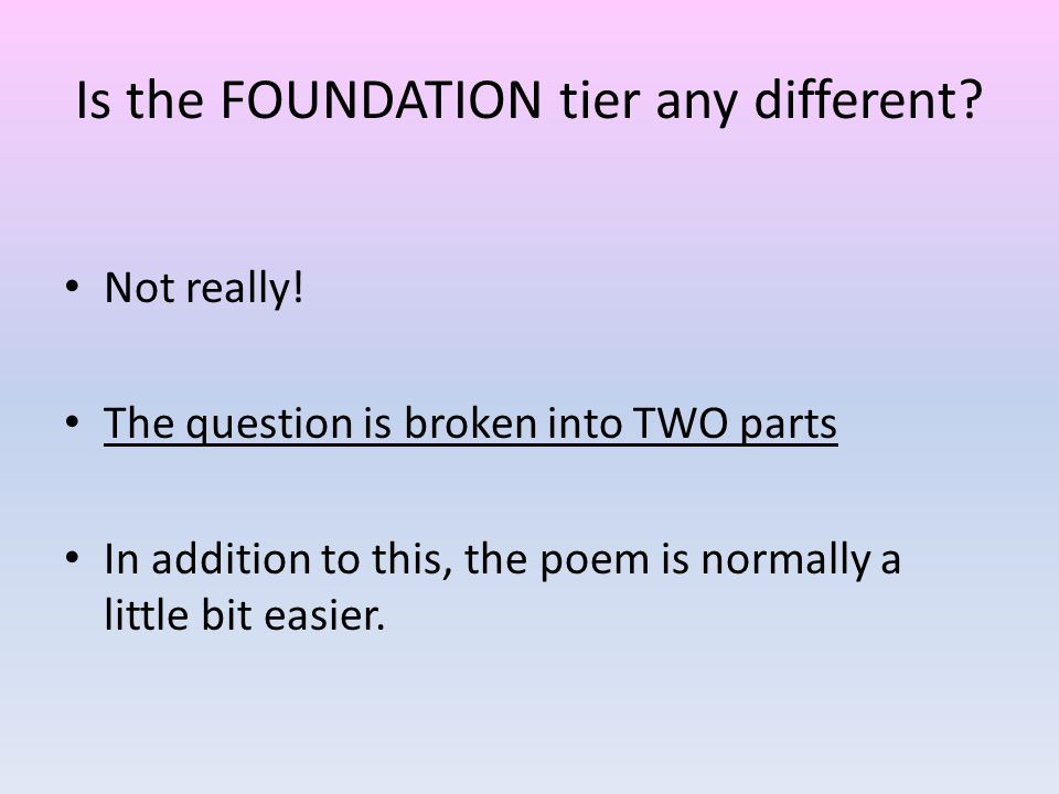 Is the FOUNDATION tier any different