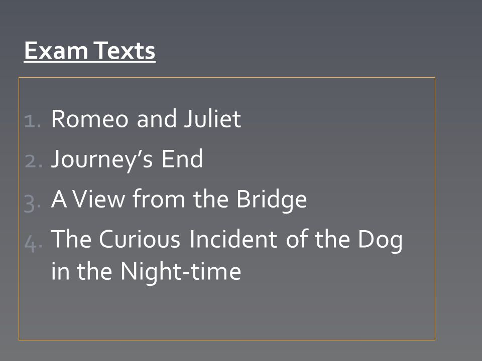 Exam Texts Romeo and Juliet. Journey's End. A View from the Bridge.