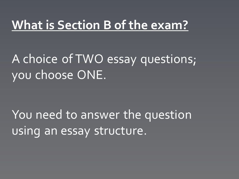 What is Section B of the exam