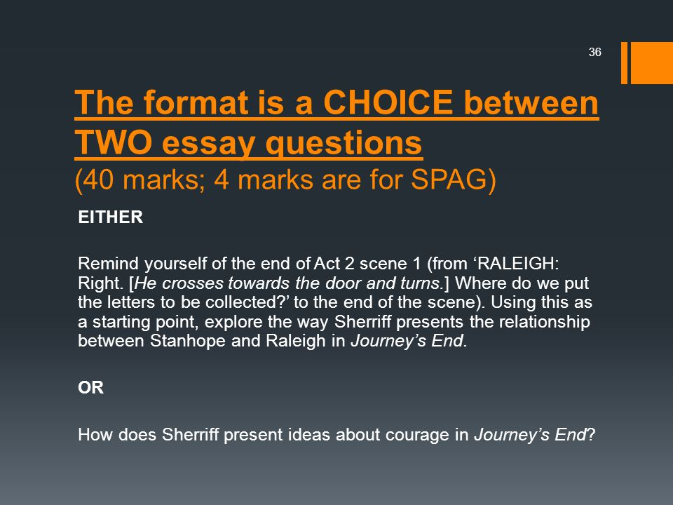 The format is a CHOICE between TWO essay questions (40 marks; 4 marks are for SPAG)