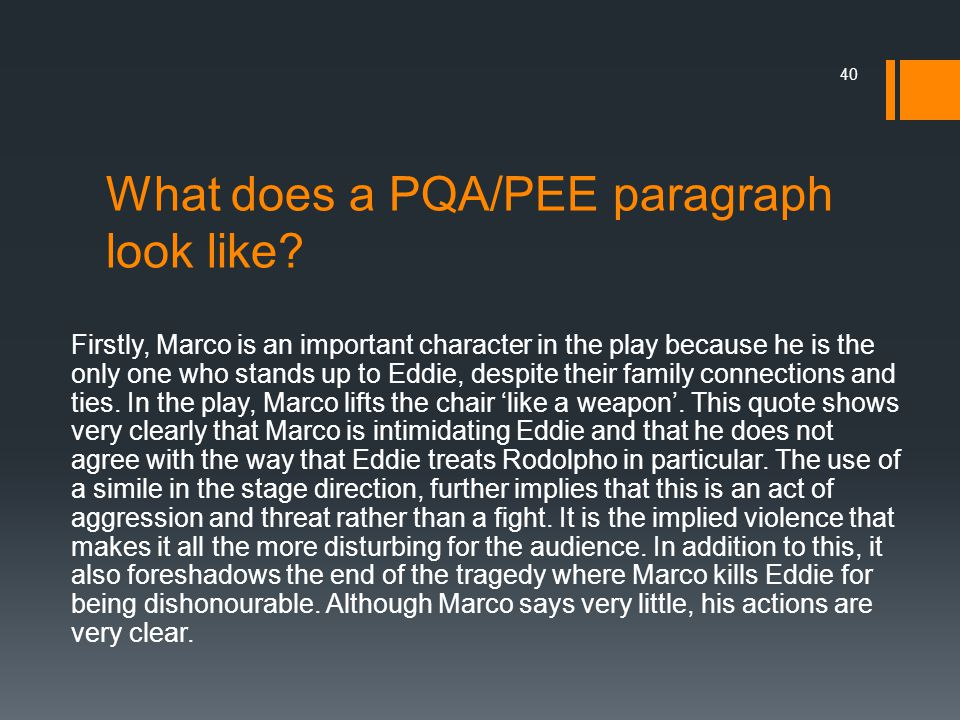 What does a PQA/PEE paragraph look like