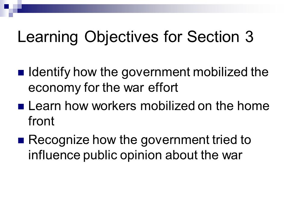 Learning Objectives for Section 3