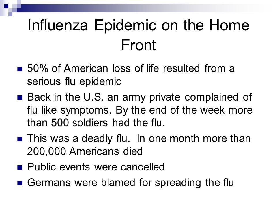 Influenza Epidemic on the Home Front