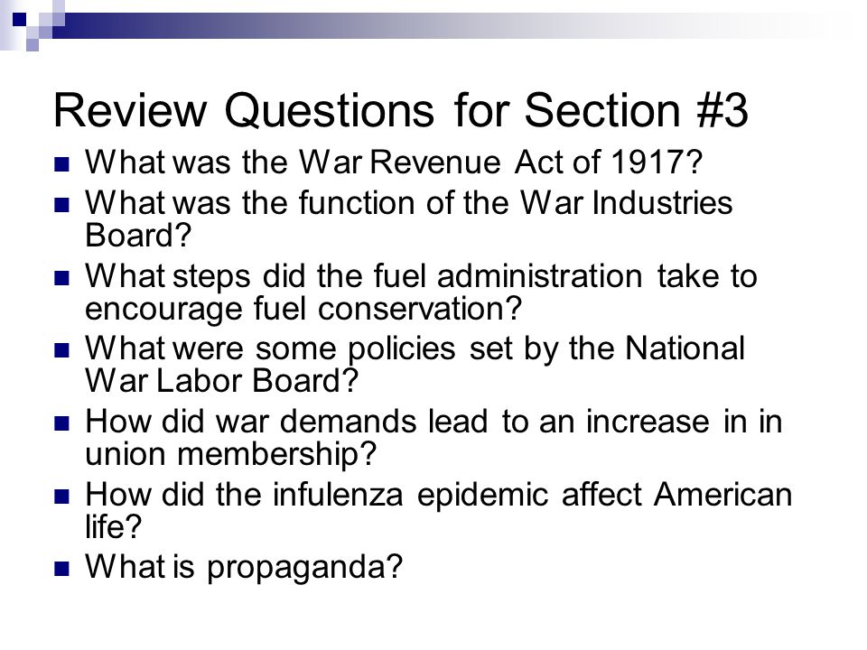 Review Questions for Section #3