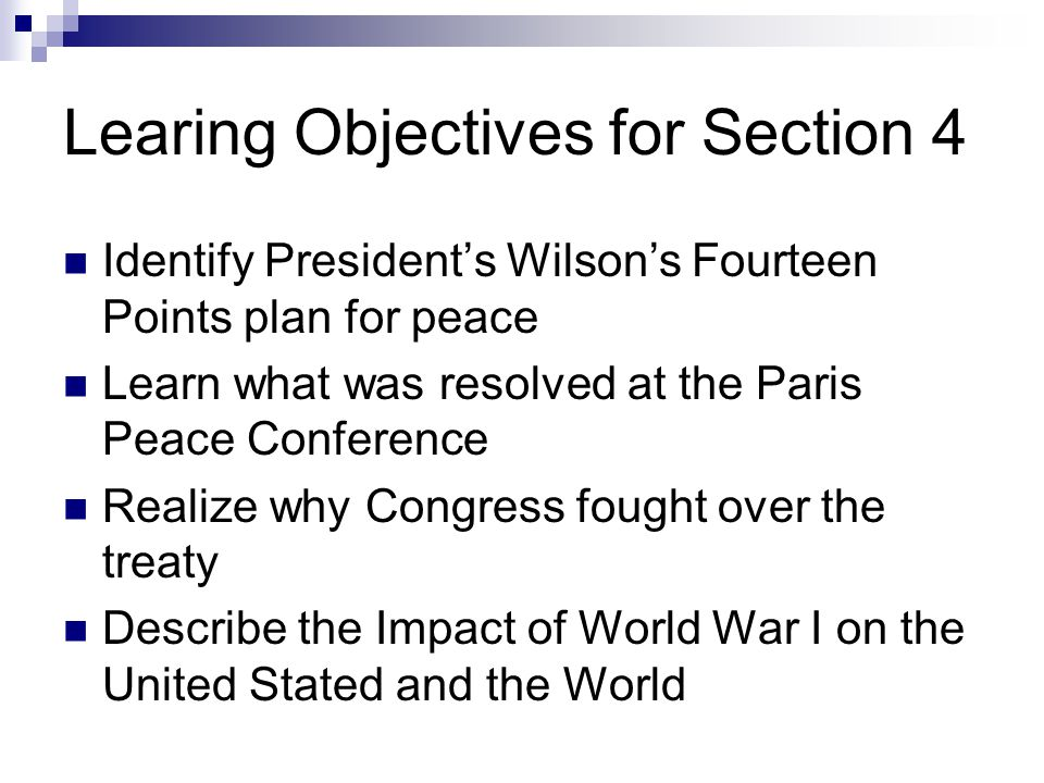 Learing Objectives for Section 4
