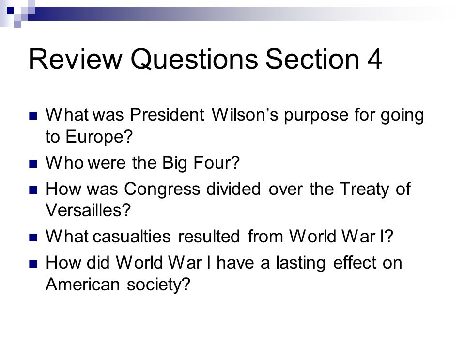 Review Questions Section 4