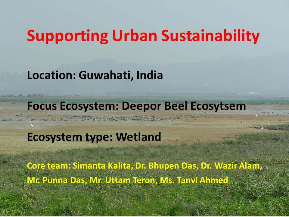 Supporting Urban Sustainability Location: Guwahati, India Focus Ecosystem: Deepor Beel Ecosytsem Ecosystem type: Wetland Core team: Simanta Kalita, Dr.