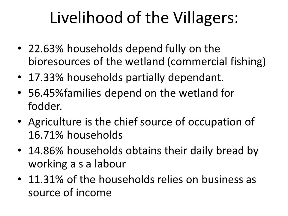 Livelihood of the Villagers: