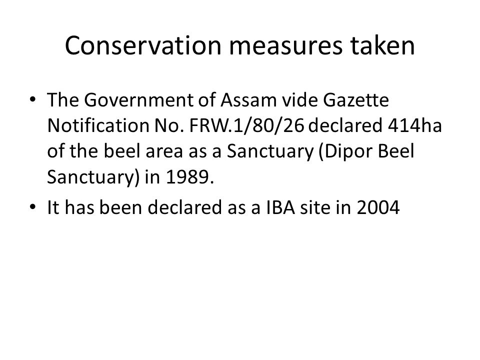 Conservation measures taken