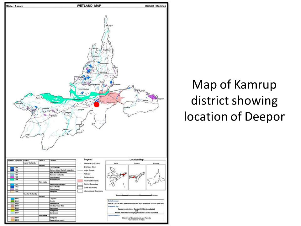 Map of Kamrup district showing location of Deepor