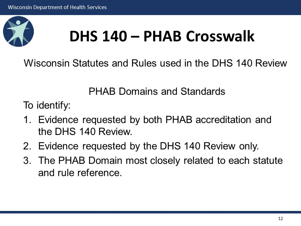 DHS 140 – PHAB Crosswalk Wisconsin Statutes and Rules used in the DHS 140 Review. PHAB Domains and Standards.