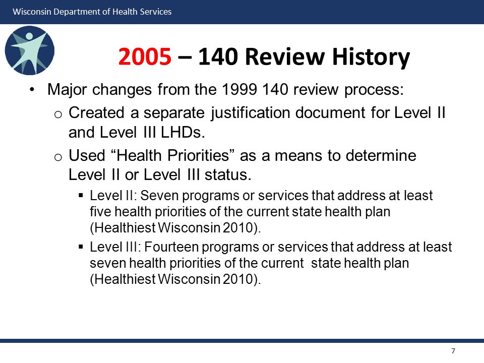 2005 – 140 Review History Major changes from the 1999 140 review process: Created a separate justification document for Level II and Level III LHDs.