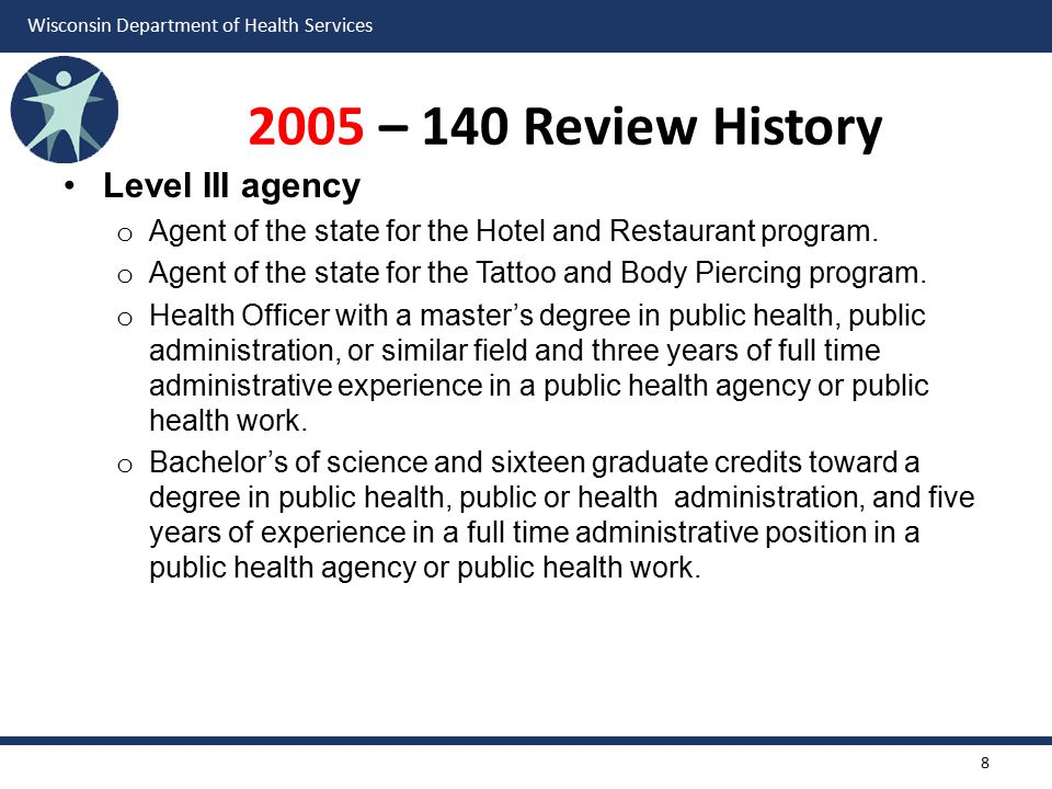 2005 – 140 Review History Level III agency