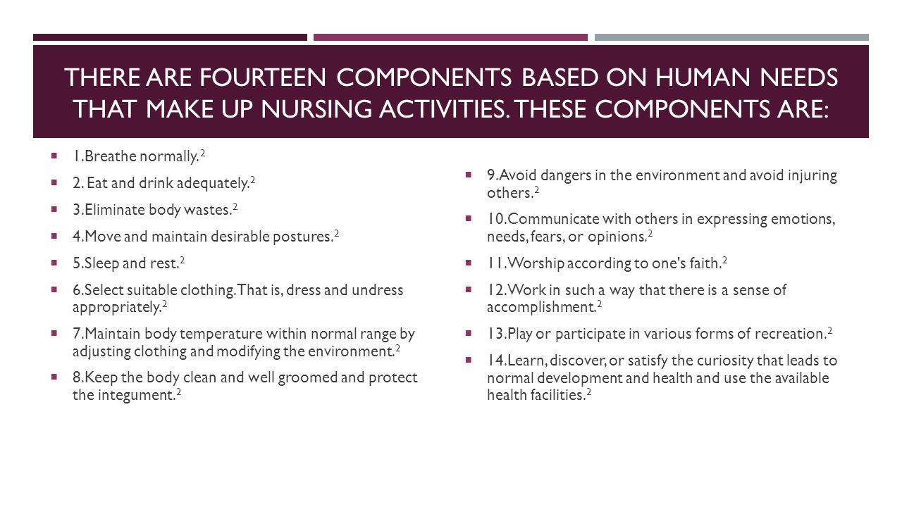There are fourteen components based on human needs that make up nursing activities. These components are: