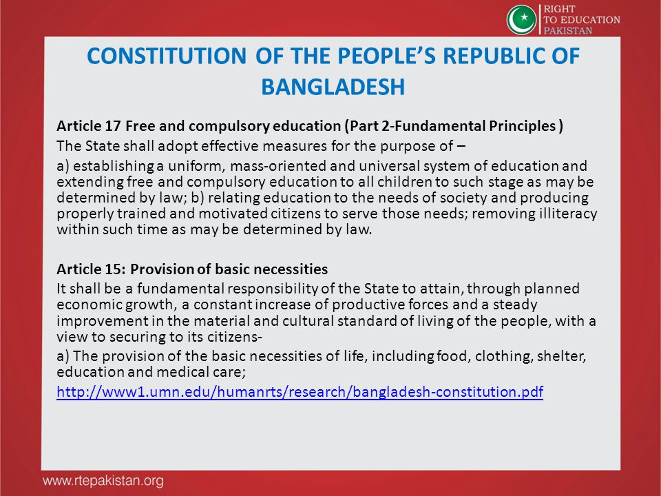 CONSTITUTION OF THE PEOPLE'S REPUBLIC OF BANGLADESH