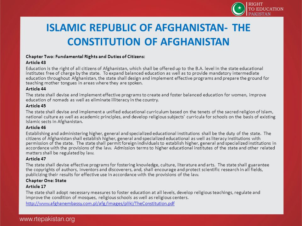 ISLAMIC REPUBLIC OF AFGHANISTAN- THE CONSTITUTION OF AFGHANISTAN