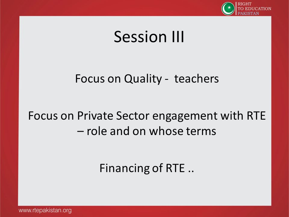 Session III Focus on Quality - teachers