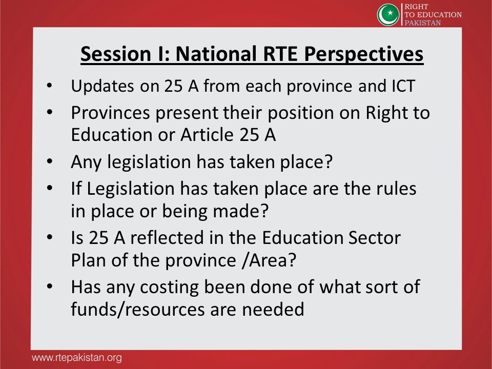 Session I: National RTE Perspectives