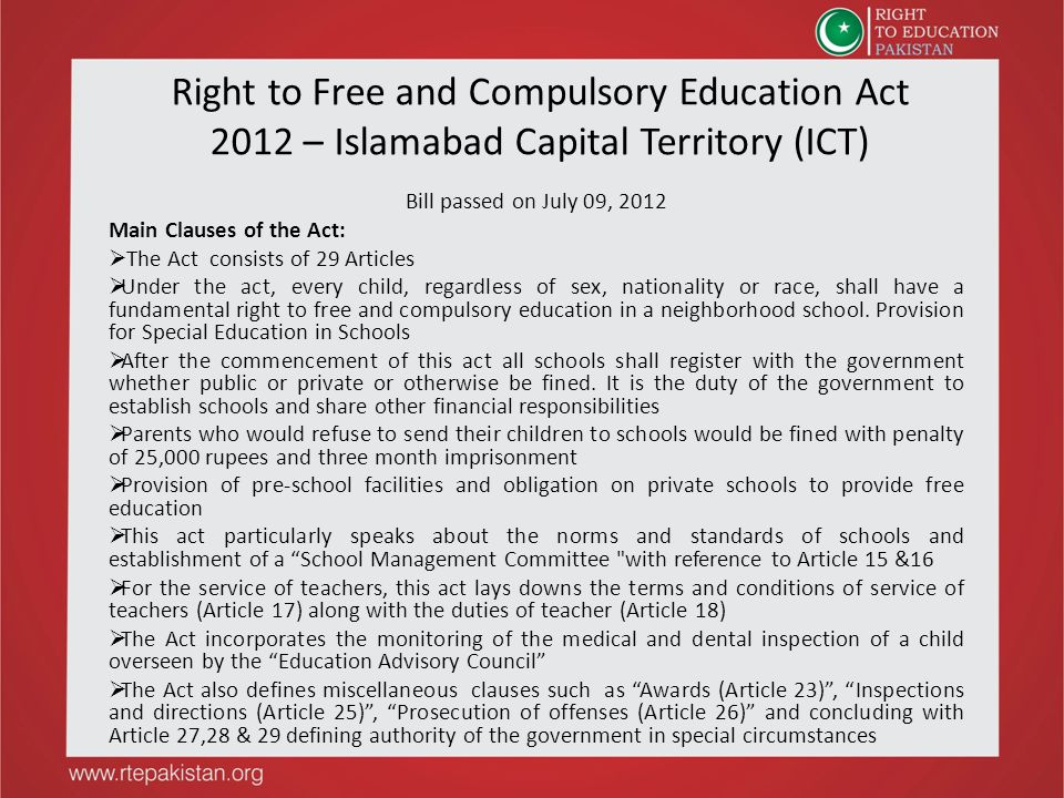 Right to Free and Compulsory Education Act 2012 – Islamabad Capital Territory (ICT)