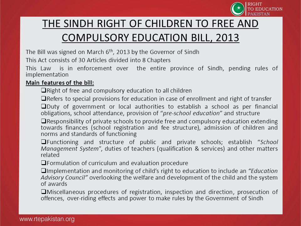 THE SINDH RIGHT OF CHILDREN TO FREE AND COMPULSORY EDUCATION BILL, 2013