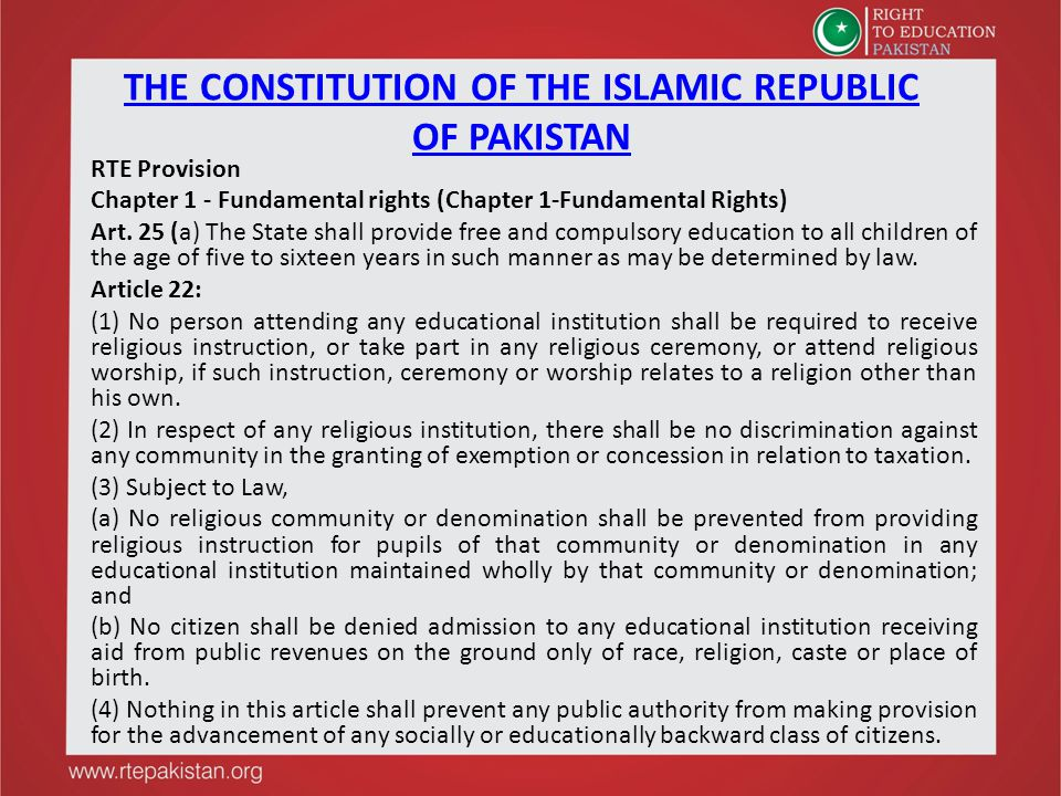 THE CONSTITUTION OF THE ISLAMIC REPUBLIC OF PAKISTAN