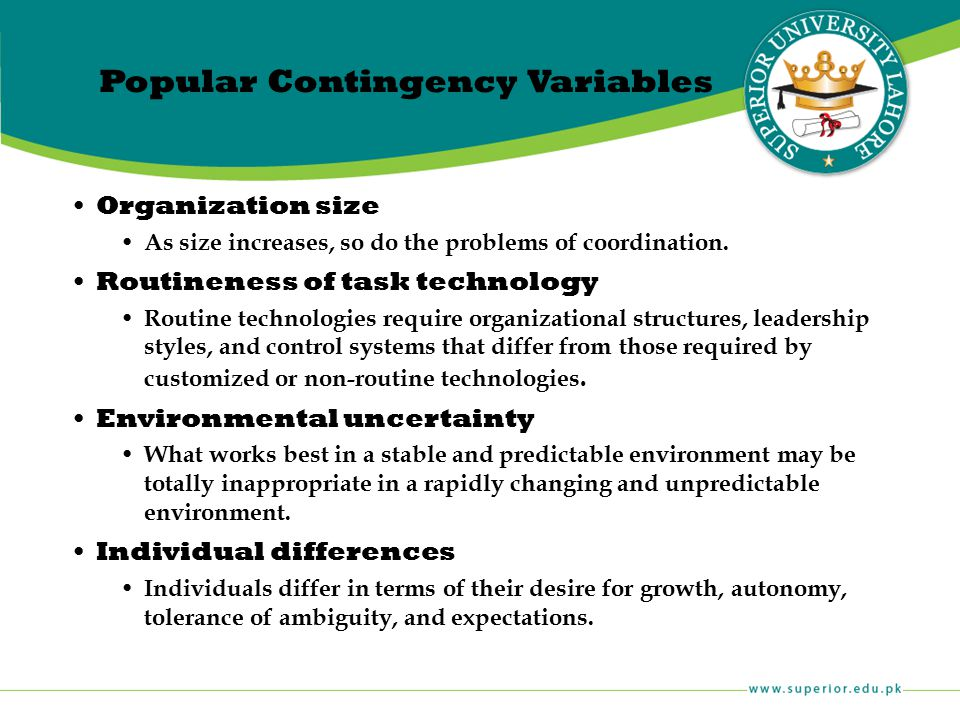 Popular Contingency Variables
