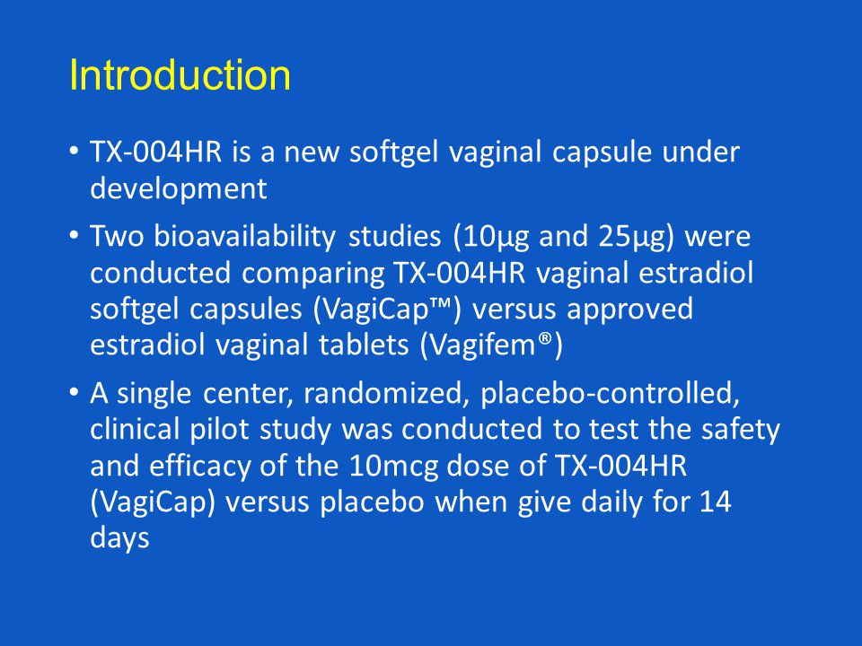 Introduction TX-004HR is a new softgel vaginal capsule under development.