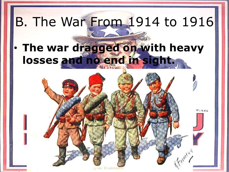 B. The War From 1914 to 1916 The war dragged on with heavy losses and no end in sight.