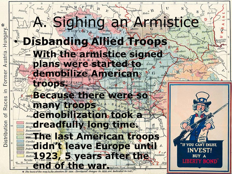 A. Sighing an Armistice Disbanding Allied Troops