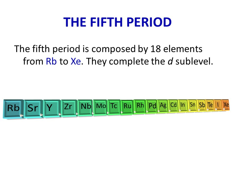 THE FIFTH PERIOD The fifth period is composed by 18 elements from Rb to Xe. They complete the d sublevel.