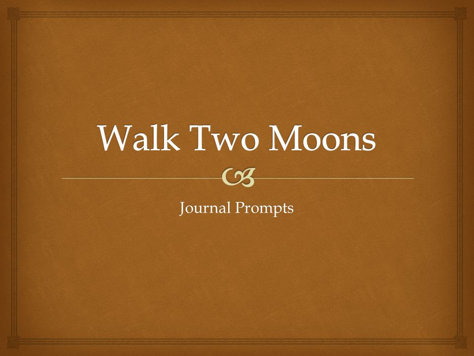 Walk Two Moons Journal Prompts