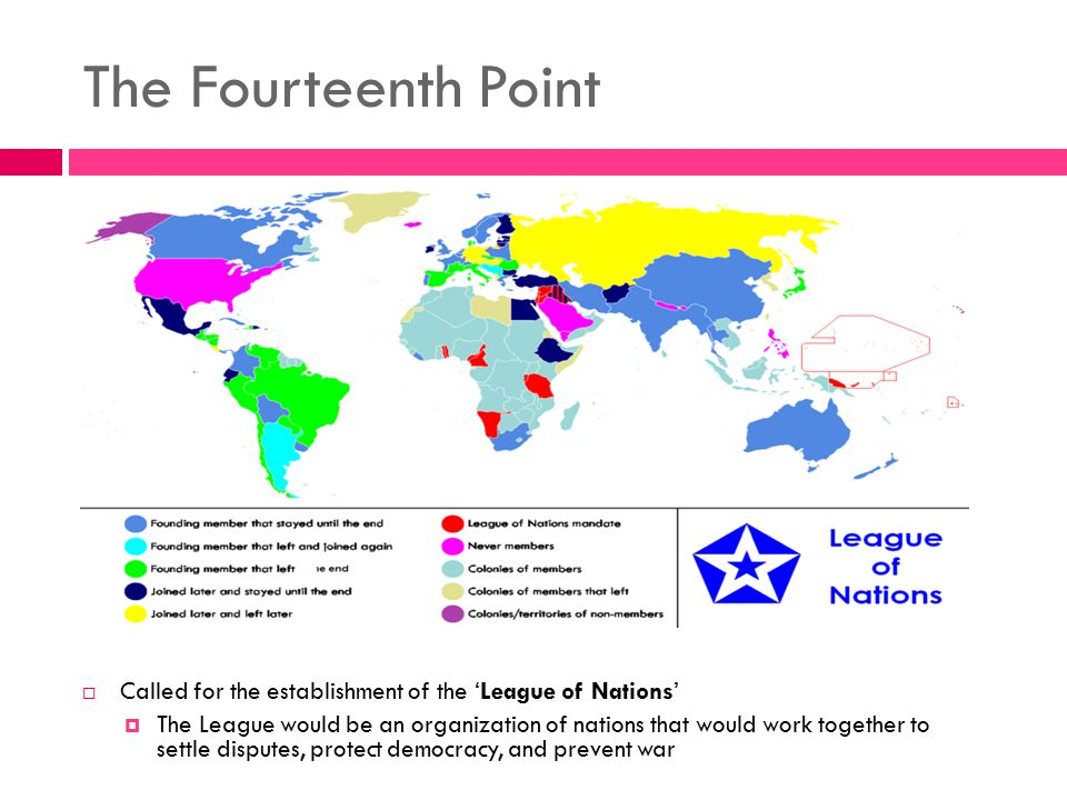 The Fourteenth Point Called for the establishment of the 'League of Nations'