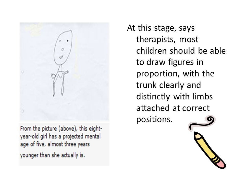 At this stage, says therapists, most children should be able to draw figures in proportion, with the trunk clearly and distinctly with limbs attached at correct positions.