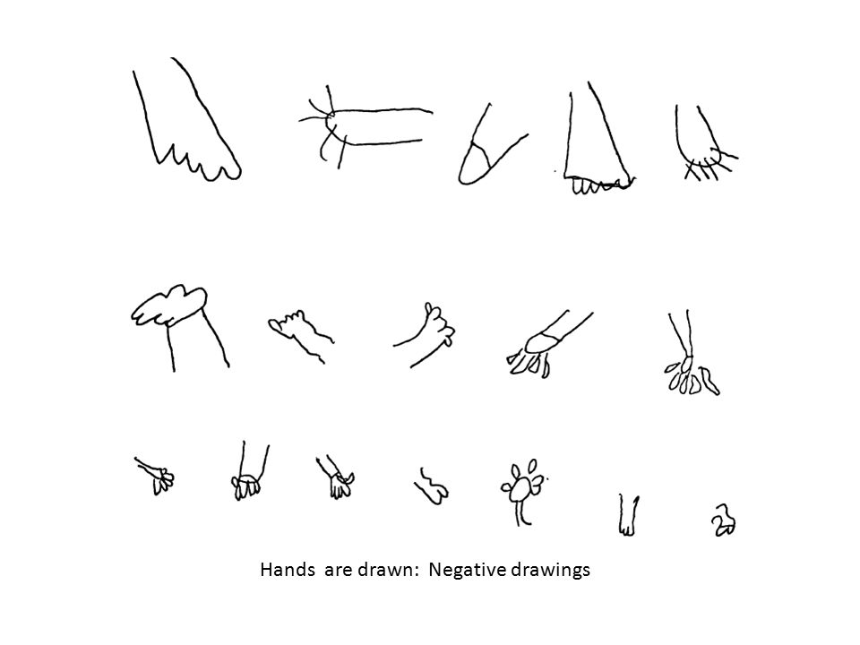 Hands are drawn: Negative drawings