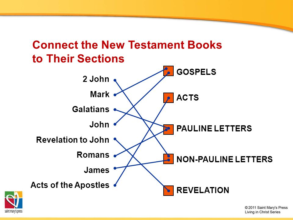 Connect the New Testament Books to Their Sections
