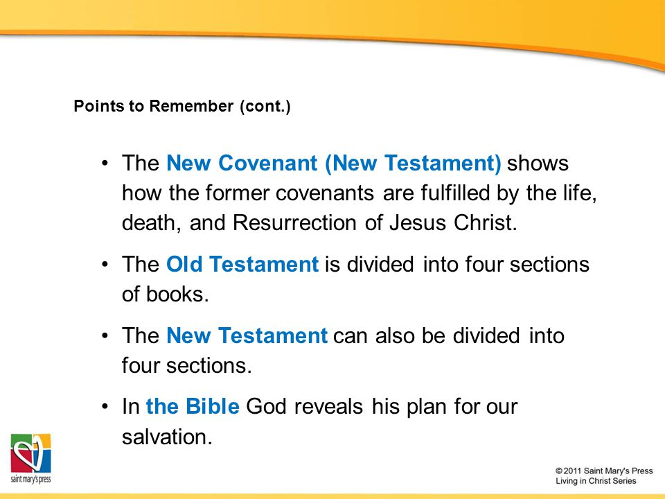 The Old Testament is divided into four sections of books.
