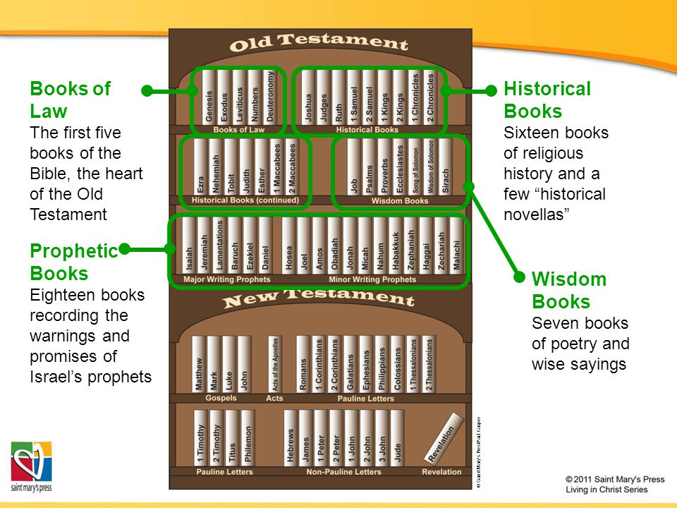 Books of Law Historical Books Wisdom Books Prophetic Books