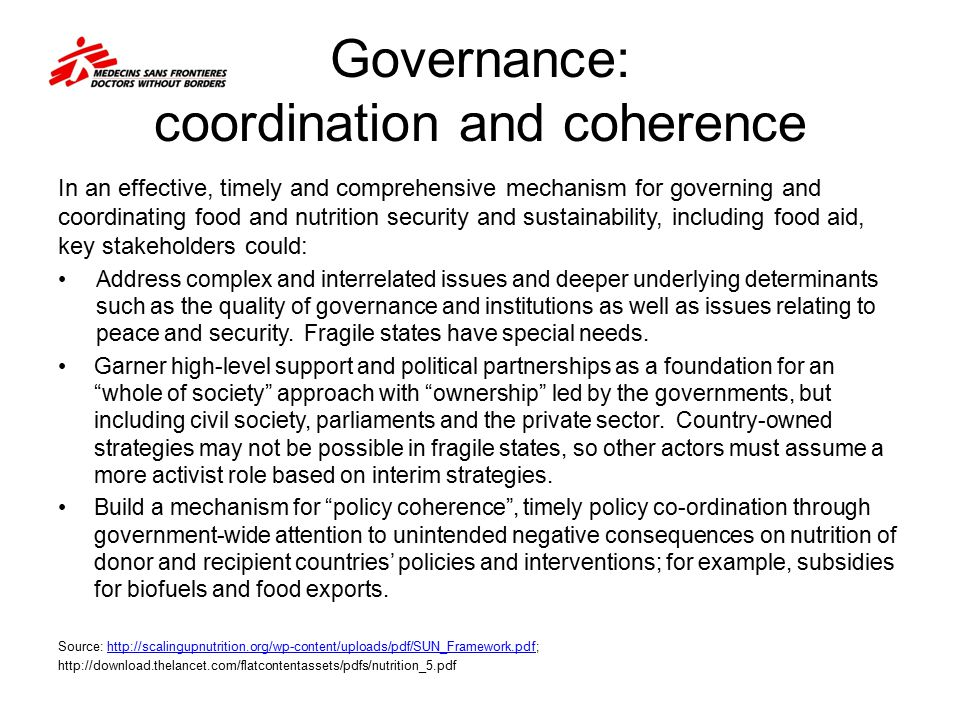 Governance: coordination and coherence