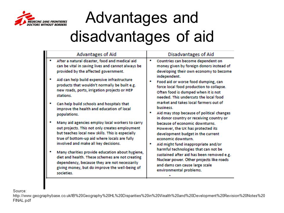 Advantages and disadvantages of aid