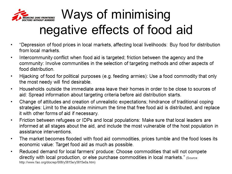 Ways of minimising negative effects of food aid