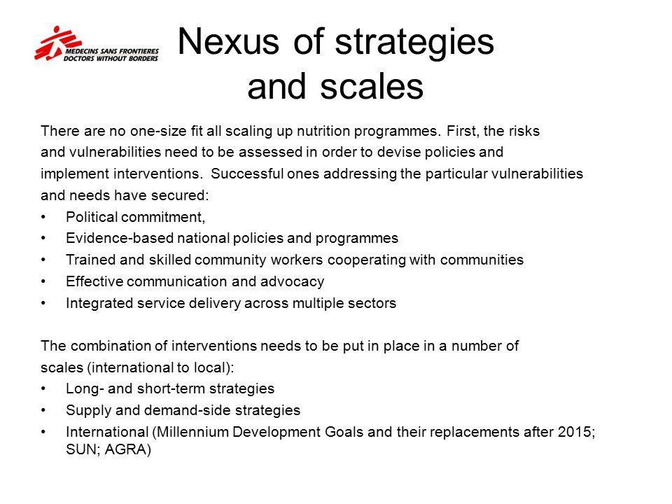 Nexus of strategies and scales