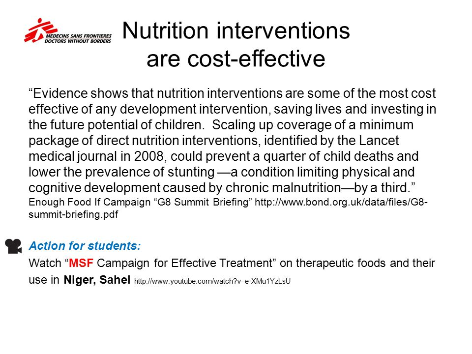 Nutrition interventions are cost-effective