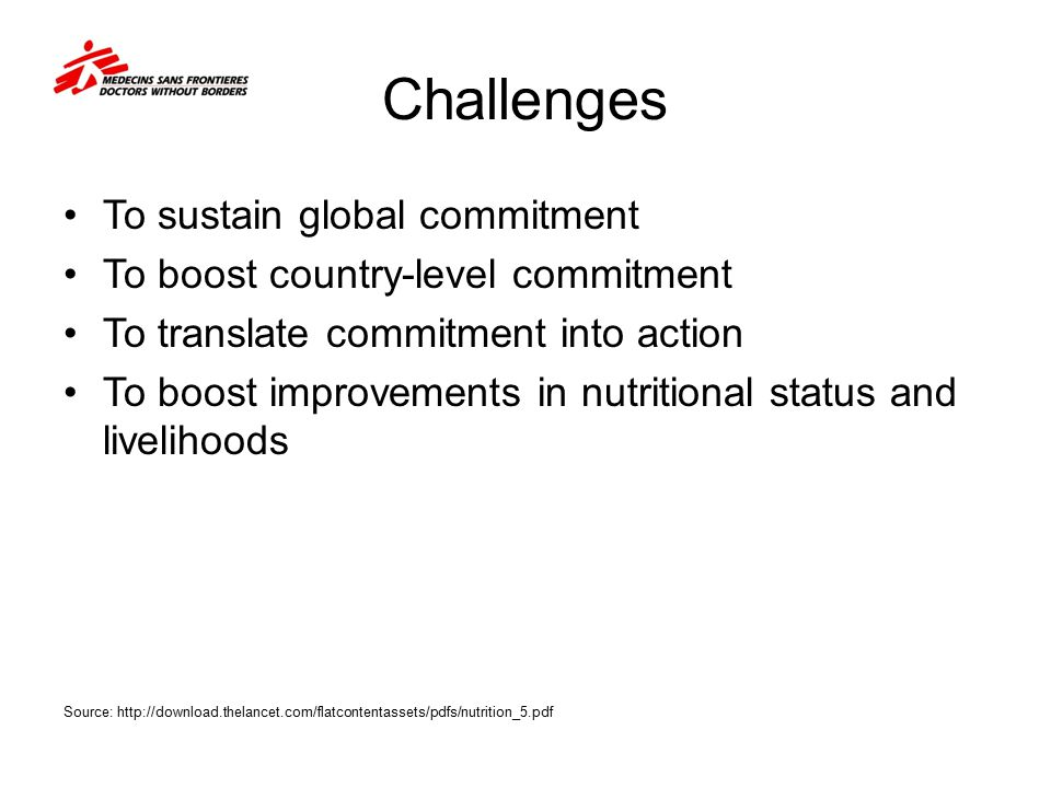 Challenges To sustain global commitment