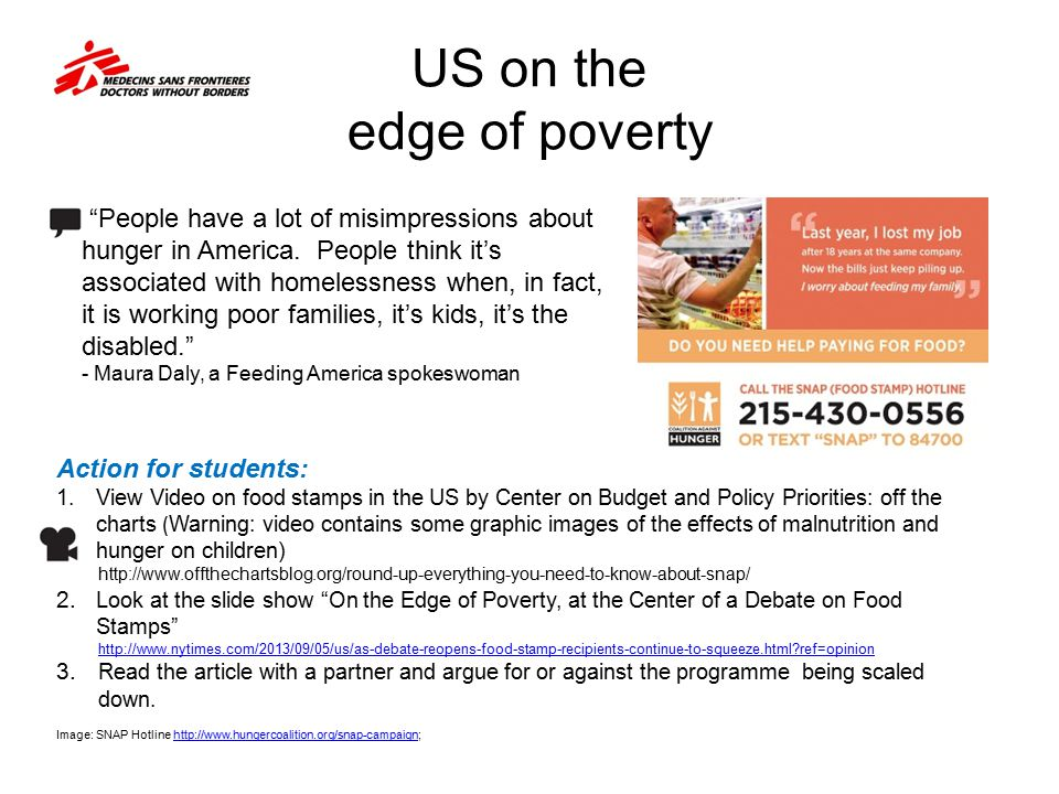 US on the edge of poverty