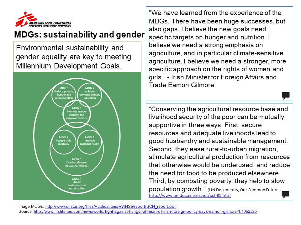 MDGs: sustainability and gender