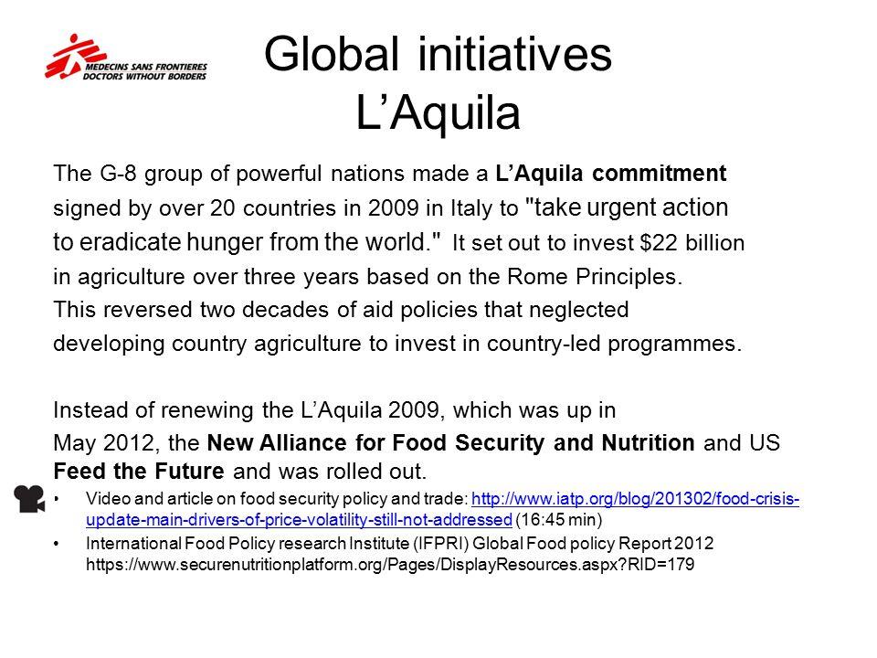 Global initiatives L'Aquila
