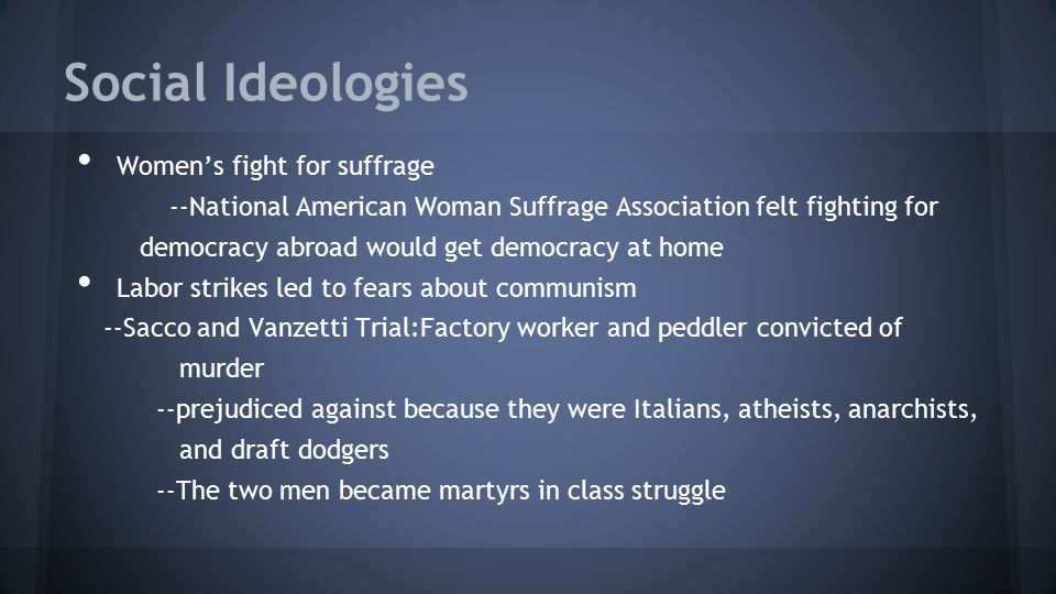 Social Ideologies Women's fight for suffrage