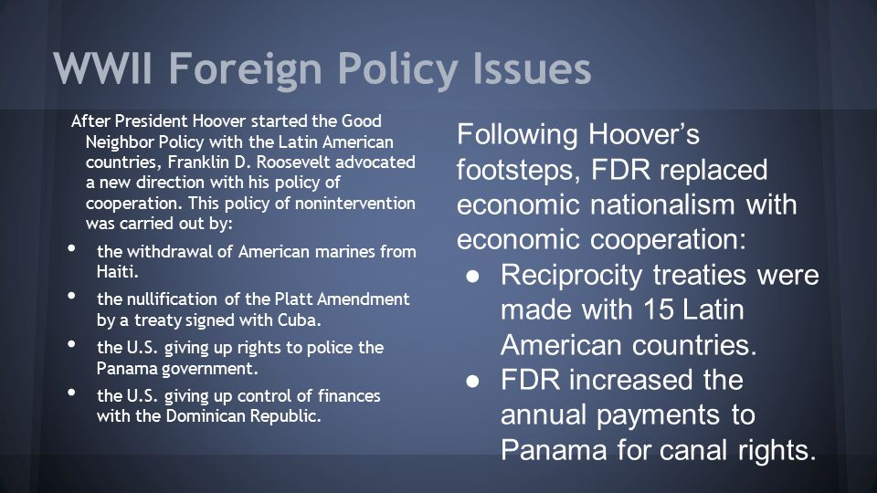 WWII Foreign Policy Issues